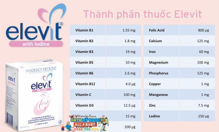 Viên uống Elevit Úc 100 viên - thuốc bổ cho bà bầu