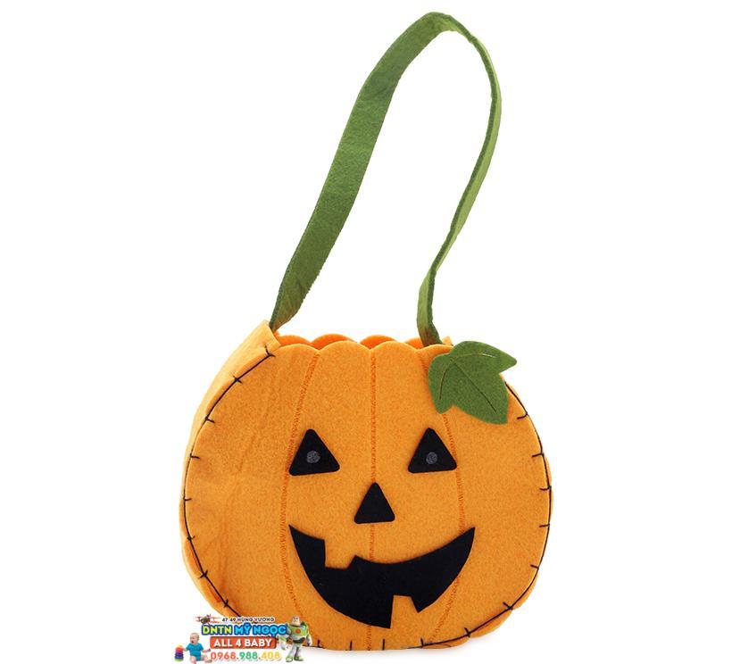 Giỏ vải hình bí ngô hóa trang Halloween