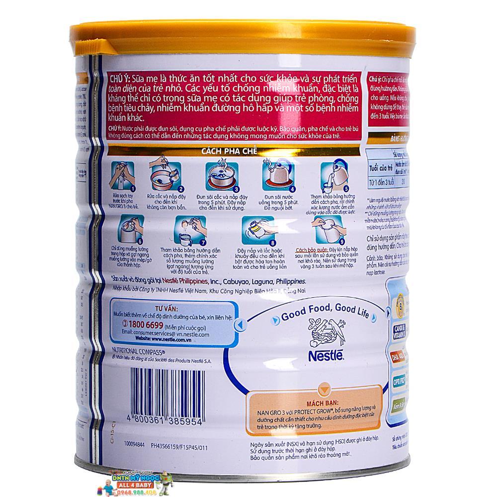 Sữa NAN Gro số 3 công ty (900g) (1-3 tuổi)