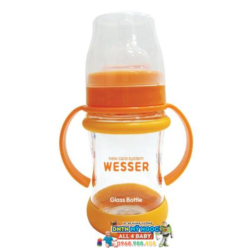Bình sữa Wesser Silver Nano Thủy tinh 140ml - Cổ rộng