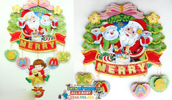 Hình dán ông già Noel, xe kéo, người tuyết, nhà gỗ, thiên thần