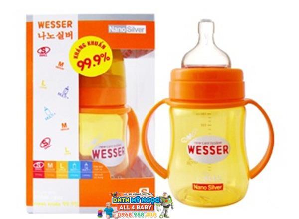 Bình sữa Wesser Silver Nano 180ml - Cổ rộng