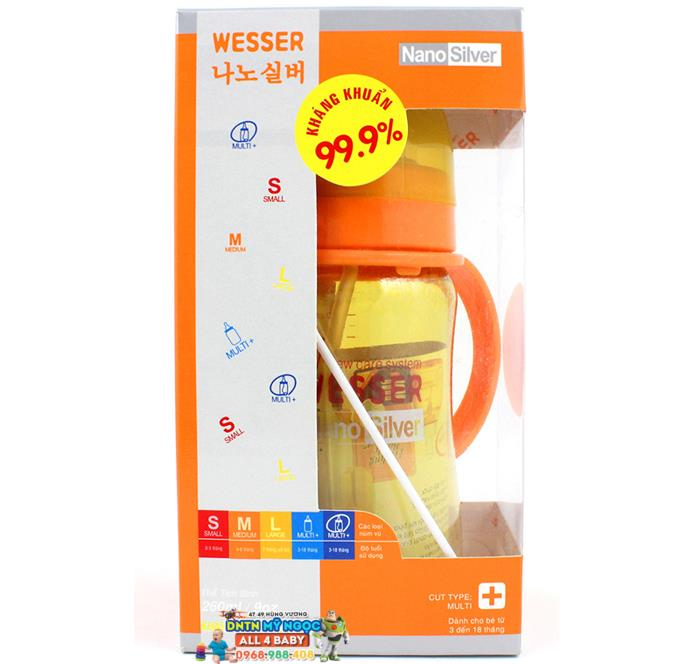 Bình sữa Wesser Silver Nano 260ml - Cổ rộng