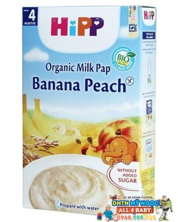 Bột dinh dưỡng Hipp sữa, chuối, đào 4M+ 250g