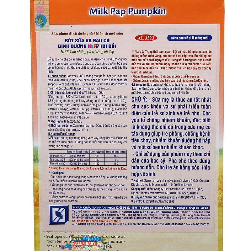 Bột dinh dưỡng Hipp rau củ bí đỏ 6M+ 250g