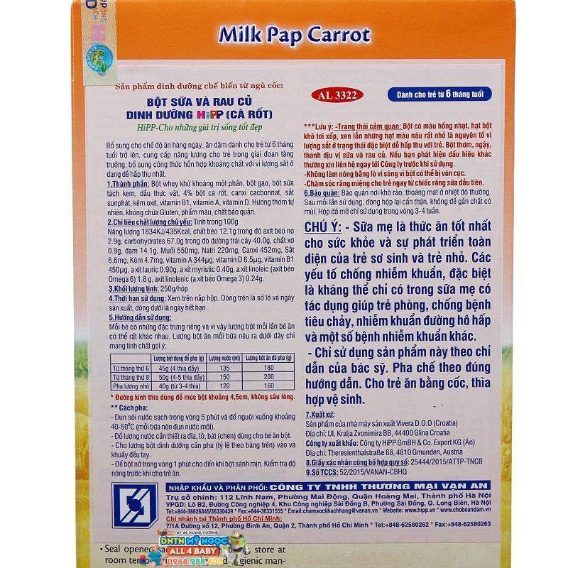 Bột dinh dưỡng Hipp rau củ cà rốt 6M+ 250g