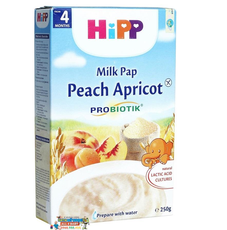 Bột dinh dưỡng Hipp sữa, đào, mơ tây 4M+ 250g