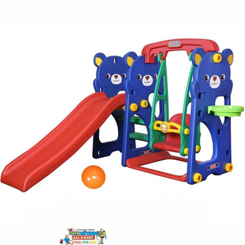Cầu trượt gấu Teddy và xích đu GT-804