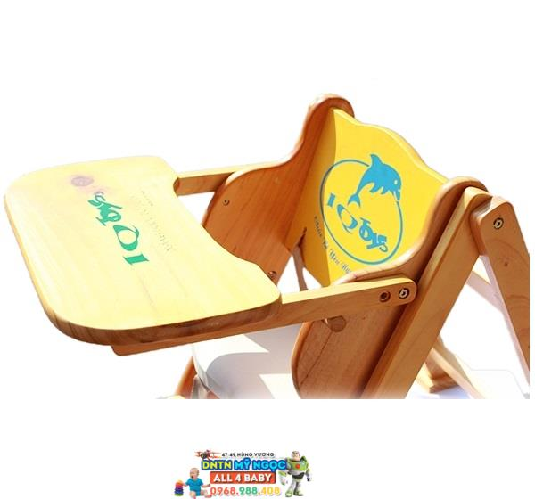 Ghế gỗ ăn bột cho bé bằng gỗ IQ Toys