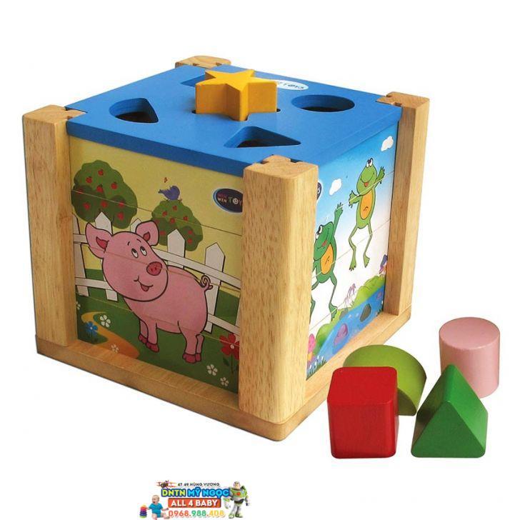 Đồ chơi gỗ WinWinToys - Hộp xếp hình thả khối 69022