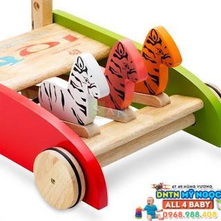 Xe đẩy tập đi gỗ IQ Toys con hổ