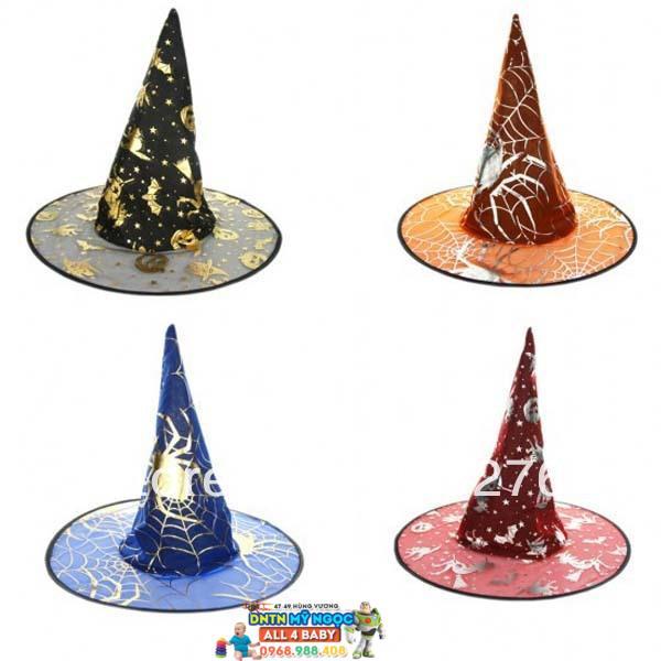 Nón phù thủy hóa trang Halloween (lưới & vải)