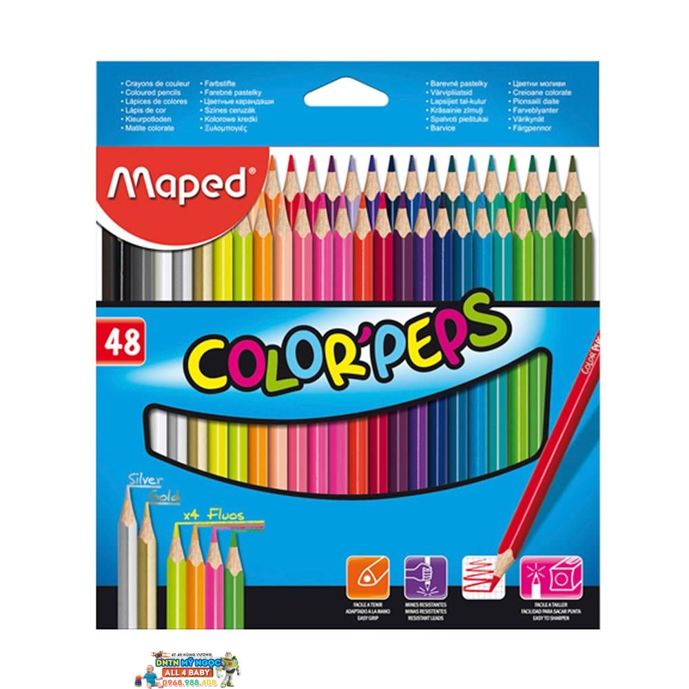 Bút chì màu gỗ 48 màu Maped