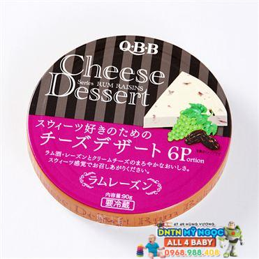 Phô Mai QBB Nhật hộp tròn vị Nho khô (6*15g)