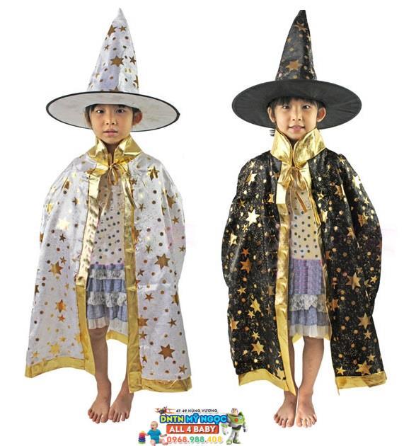 Trang phục áo choàng Halloween hóa trang phù thủy (vải)