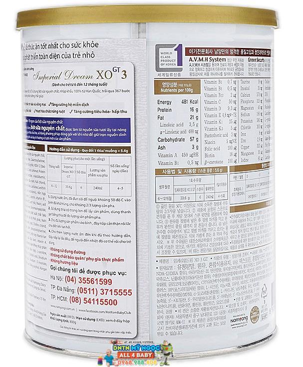 Sữa XO 800g số 3 dành cho bé từ 6 - 12 tháng tuổi