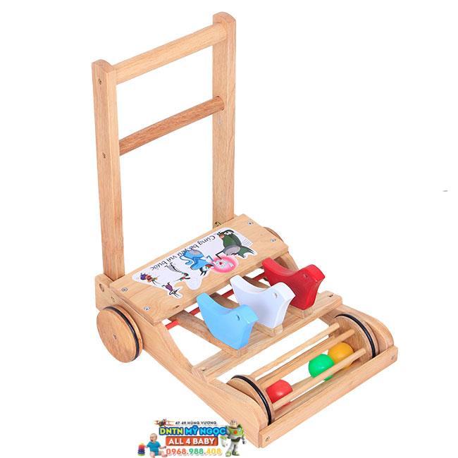 Xe đẩy tập đi bằng gỗ có bóng lăn Song Son