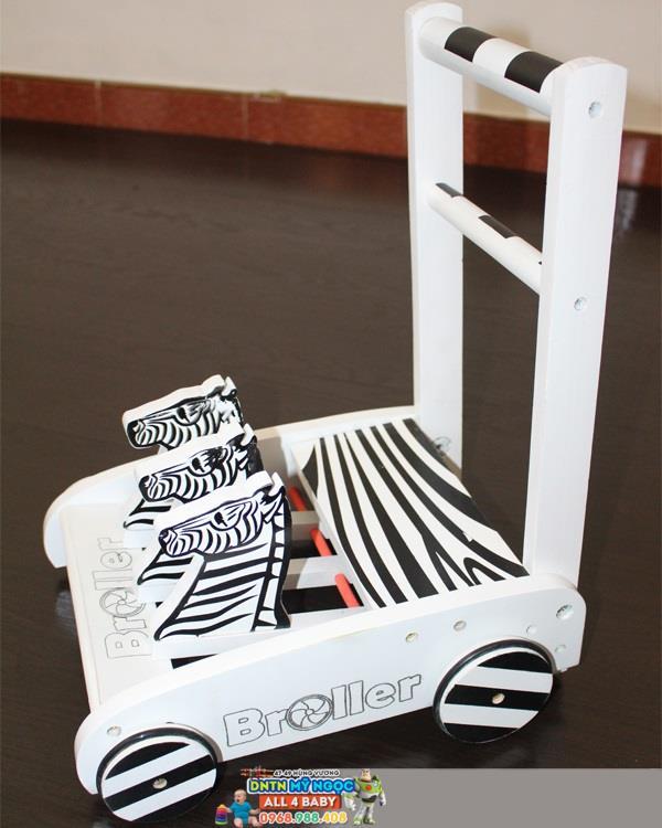 Xe đẩy tập đi bằng gỗ Broller ngựa vằn