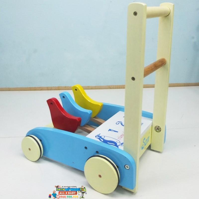Xe đẩy tập đi gỗ Song Son 123 trơn (không có bánh su)