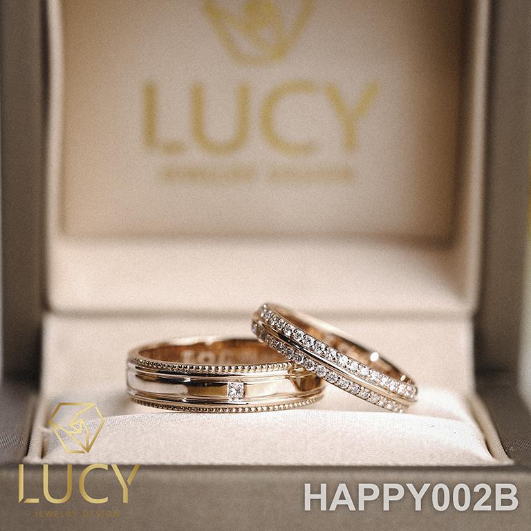 HAPPY002B Nhẫn cưới thiết kế, Nhẫn cưới đẹp, Nhẫn cưới kim cương - Lucy Jewelry