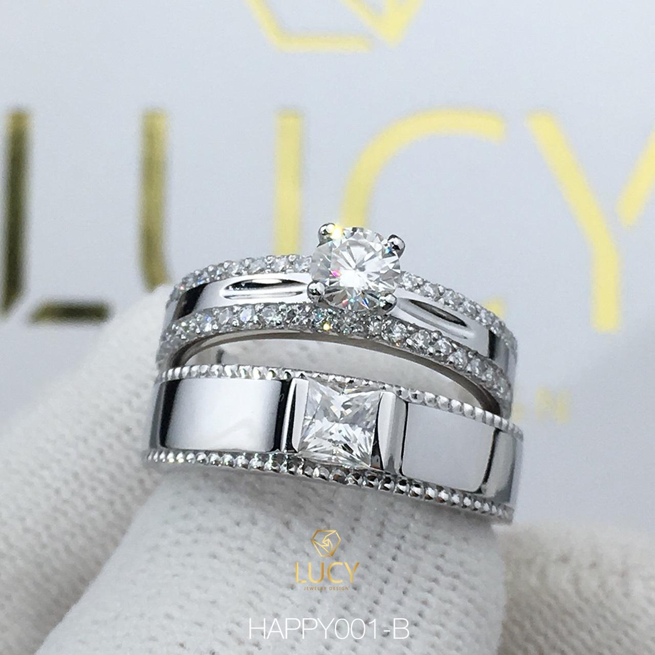 HAPPY001-B_PT Nhẫn cưới bạch kim cao cấp Platinum 90% PT900 - Lucy Jewelry