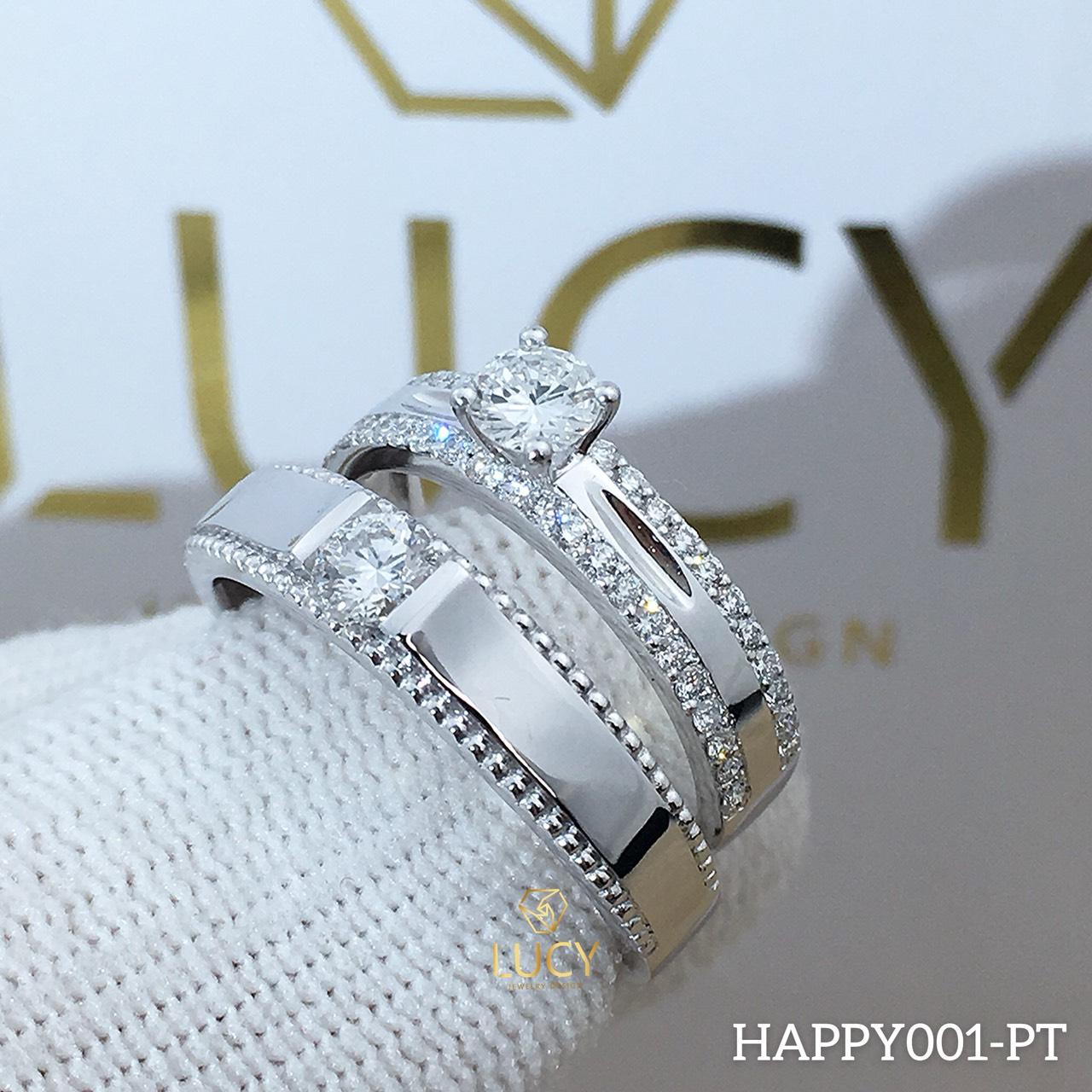 HAPPY001 Nhẫn cưới đẹp vàng tây, vàng trắng, vàng hồng 10k 14k 18k, Bạch Kim Platinum PT900 đính CZ, Moissanite, Kim cương - Lucy Jewelry