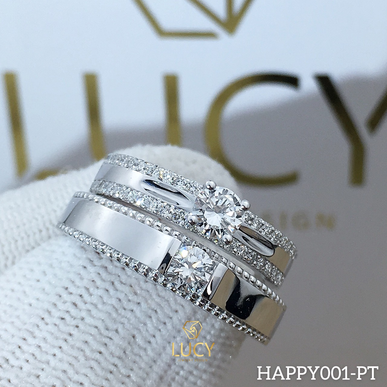 HAPPY001_PT Nhẫn cưới bạch kim cao cấp Platinum 90% PT900 đính kim cương tự nhiên - Lucy Jewelry