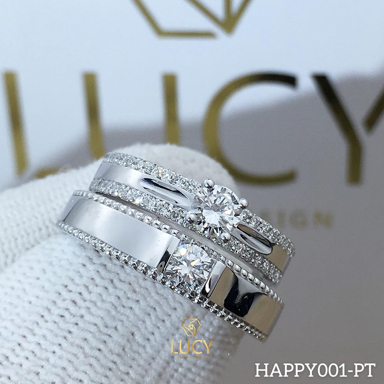 HAPPY001_PT Nhẫn cưới bạch kim cao cấp Platinum 90% PT900 - Lucy Jewelry