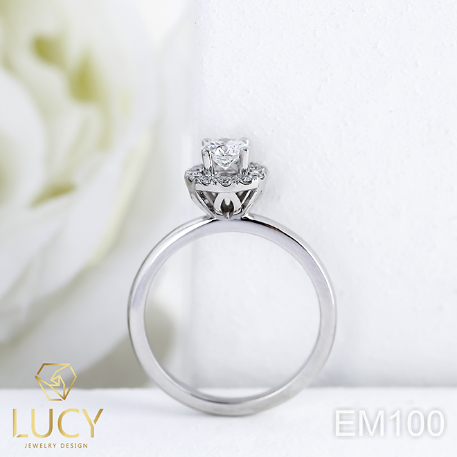 EM100 Nhẫn cầu hôn đính hôn, nhẫn vàng nữ, nhẫn ổ kim cương 4.5mm - Lucy Jewelry