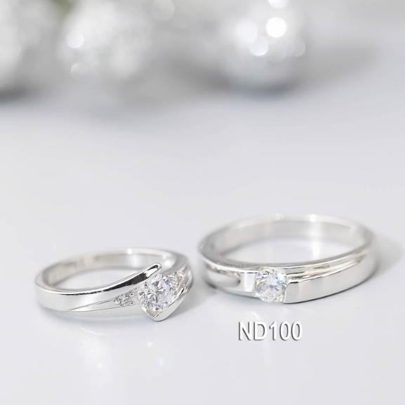 Nhẫn đôi nhẫn cặp bạc Lucy - ND100