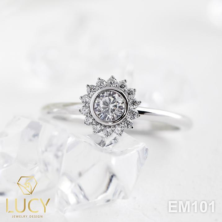 EM101 Nhẫn cầu hôn đính hôn, nhẫn vàng nữ, nhẫn ổ kim cương 3.5mm - Lucy Jewelry