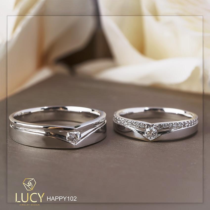 HAPPY102B_PT Nhẫn cưới bạch kim cao cấp Platinum 90% PT900 - Lucy Jewelry