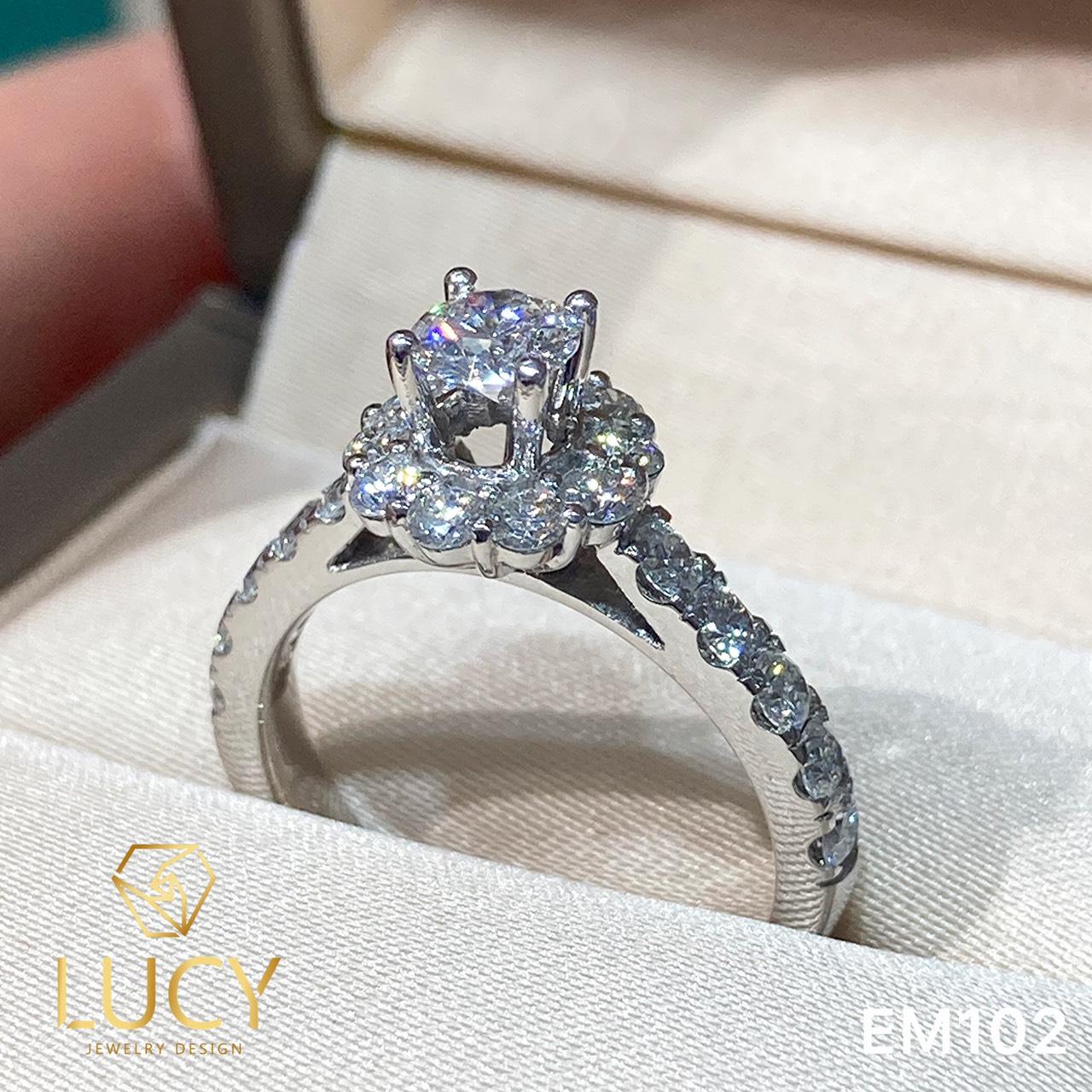 EM102 Nhẫn cầu hôn đính hôn, nhẫn vàng nữ, nhẫn ổ kim cương 4.5mm - Lucy Jewelry