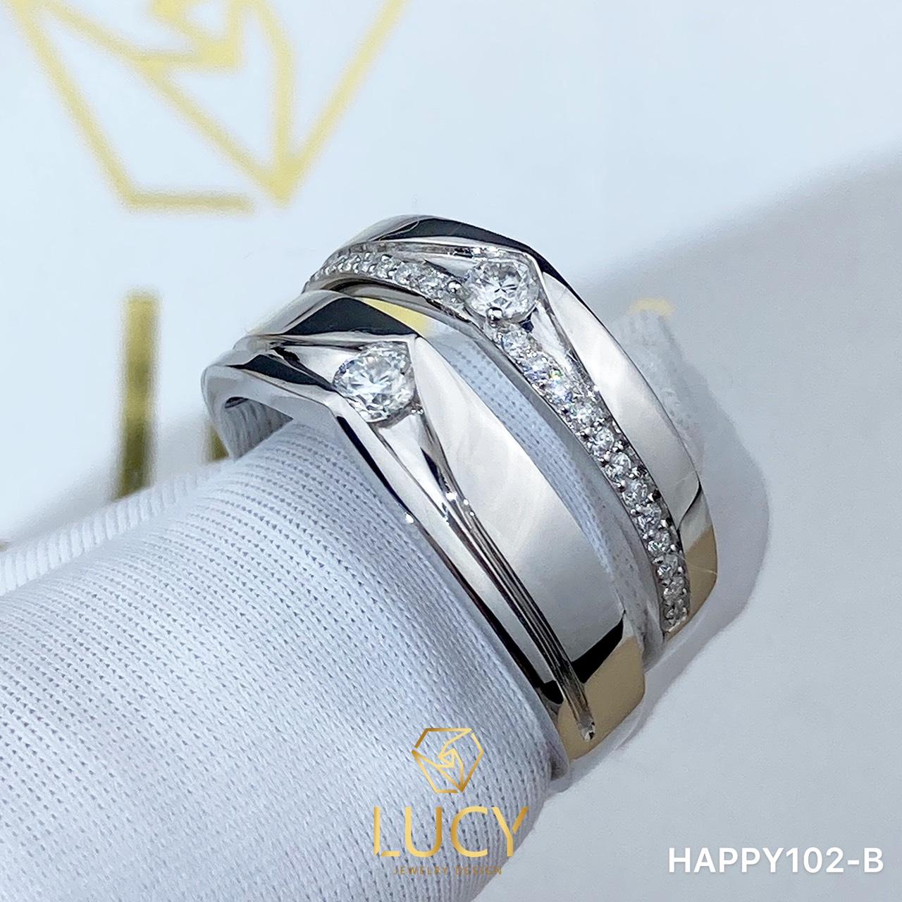 HAPPY102-B_PT Nhẫn cưới bạch kim cao cấp Platinum 90% PT900 - Lucy Jewelry