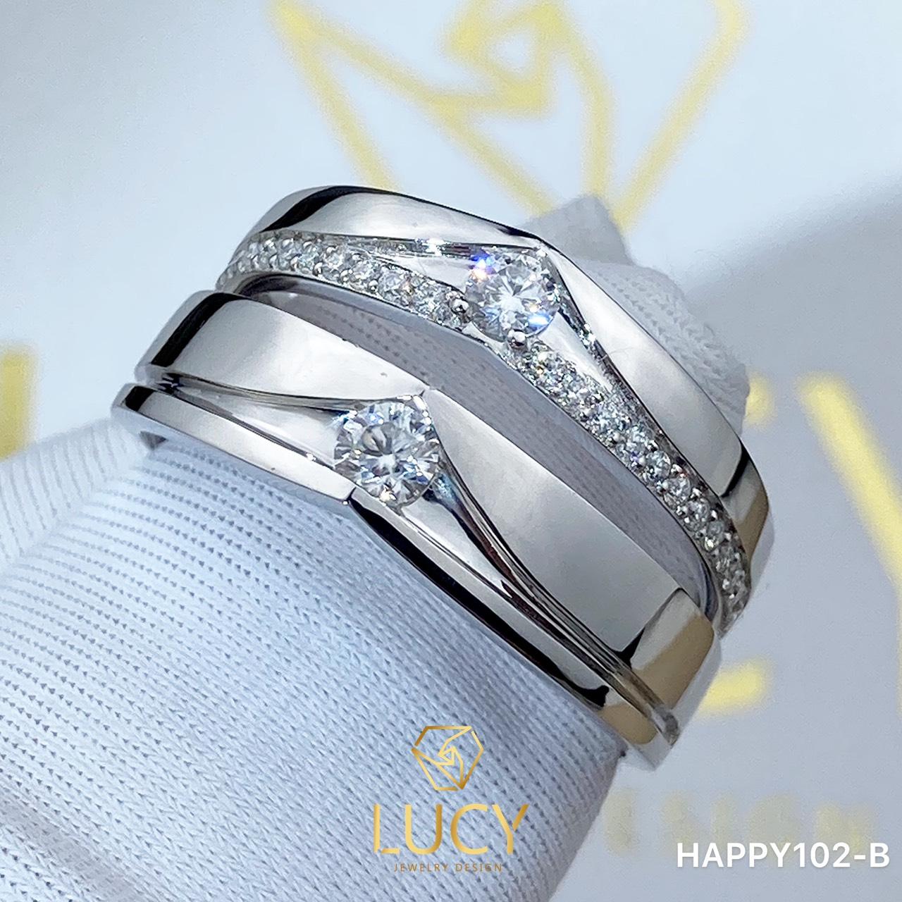 HAPPY102-B Nhẫn cưới thiết kế, nhẫn cưới đẹp cao cấp, nhẫn cưới kim cương 3mm 2.7mm - Lucy Jewelry