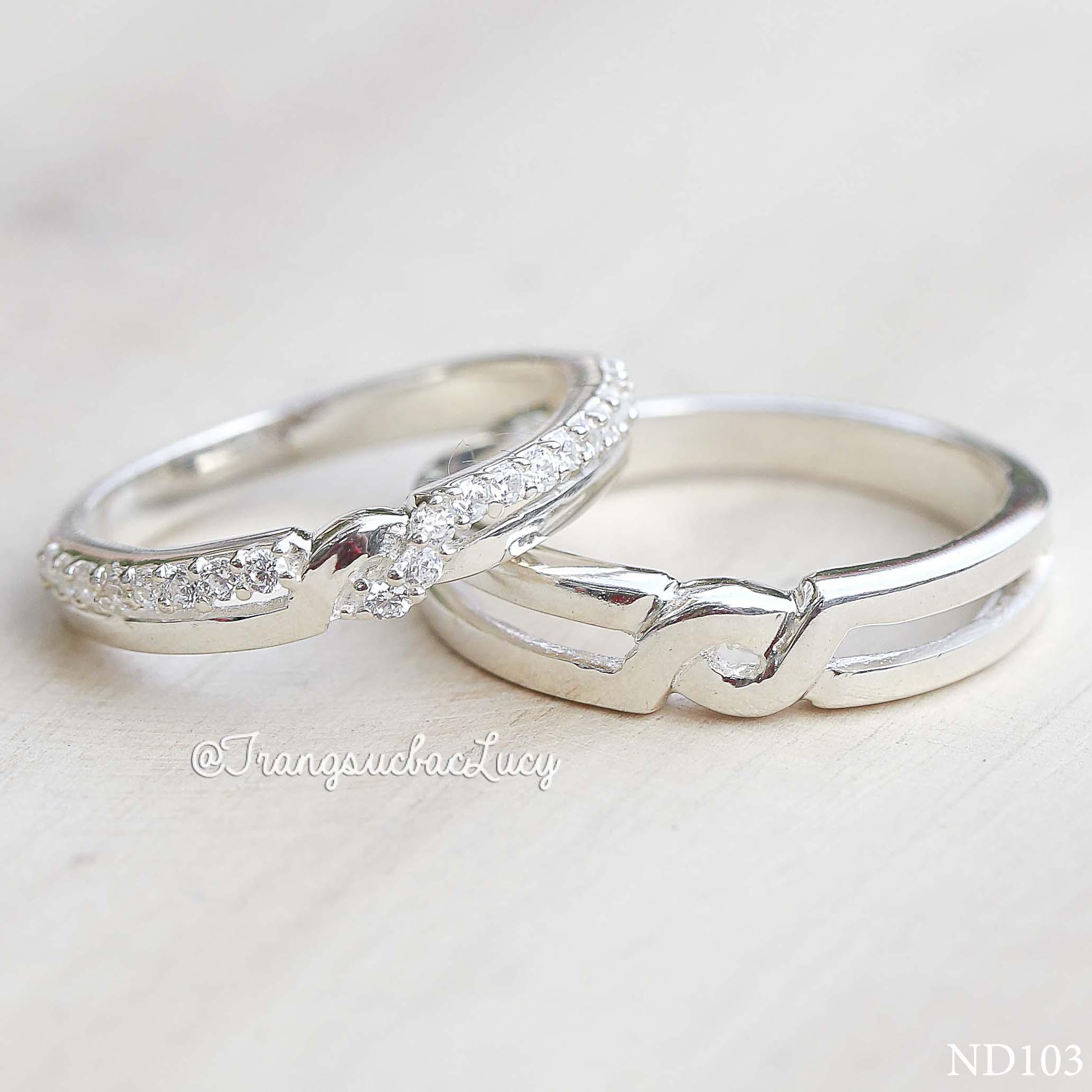 Nhẫn đôi nhẫn cặp bạc Lucy - ND103