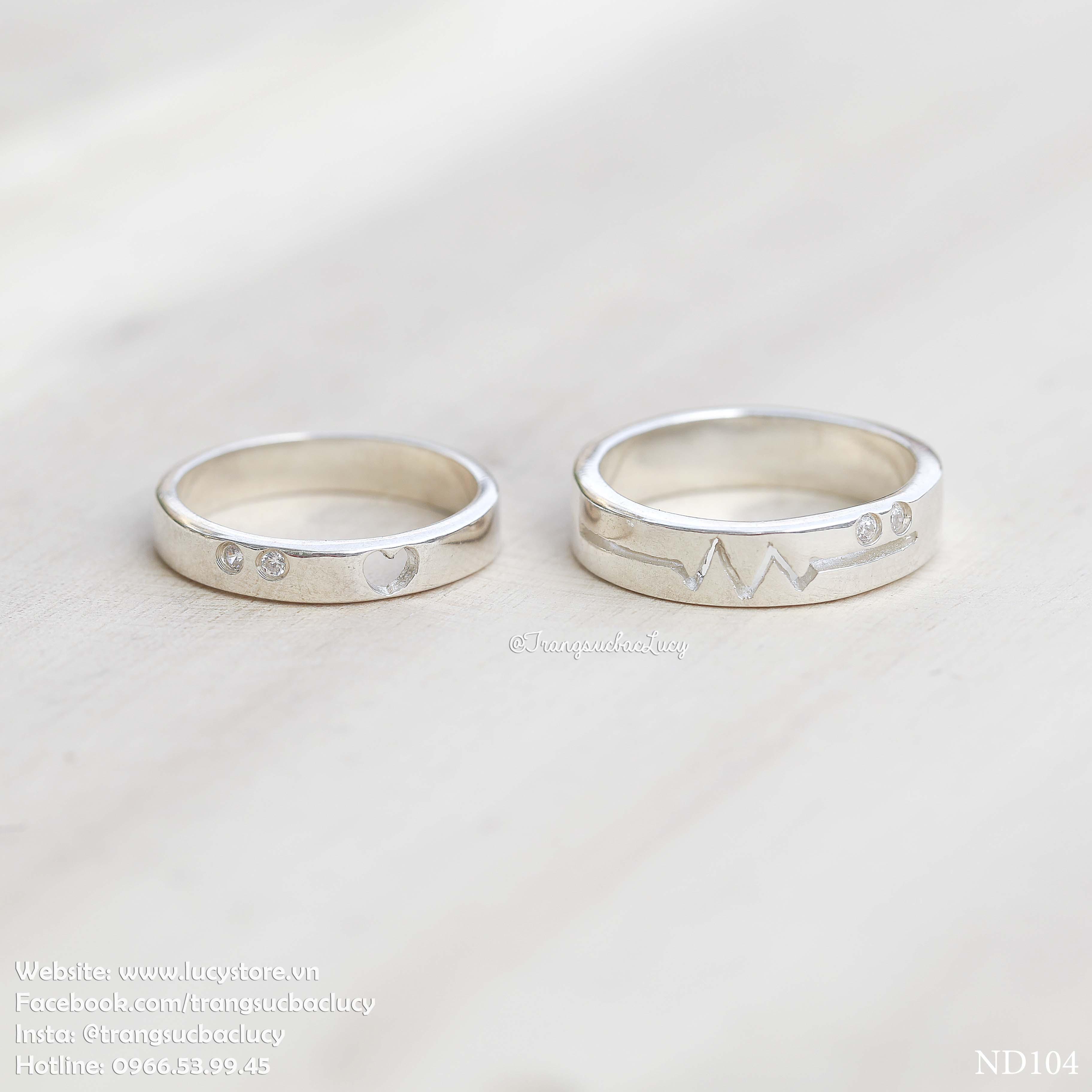 Nhẫn đôi nhẫn cặp bạc Lucy - ND104