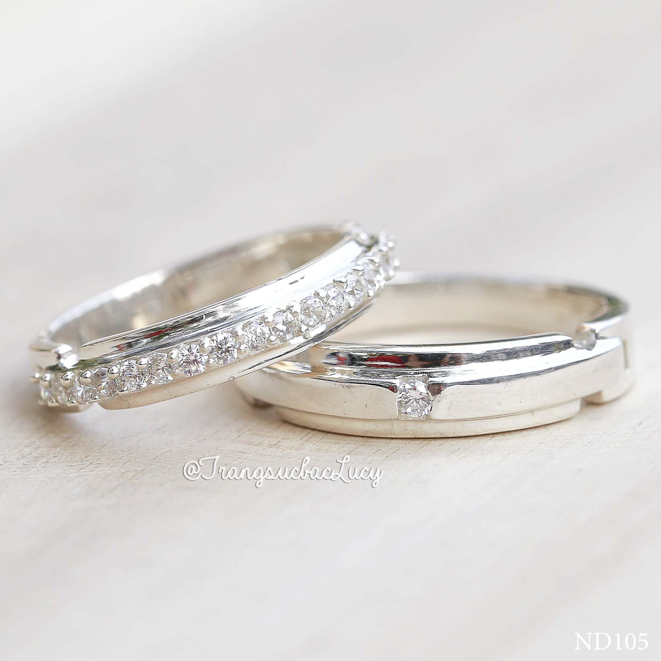 Nhẫn đôi nhẫn cặp bạc Lucy - ND105