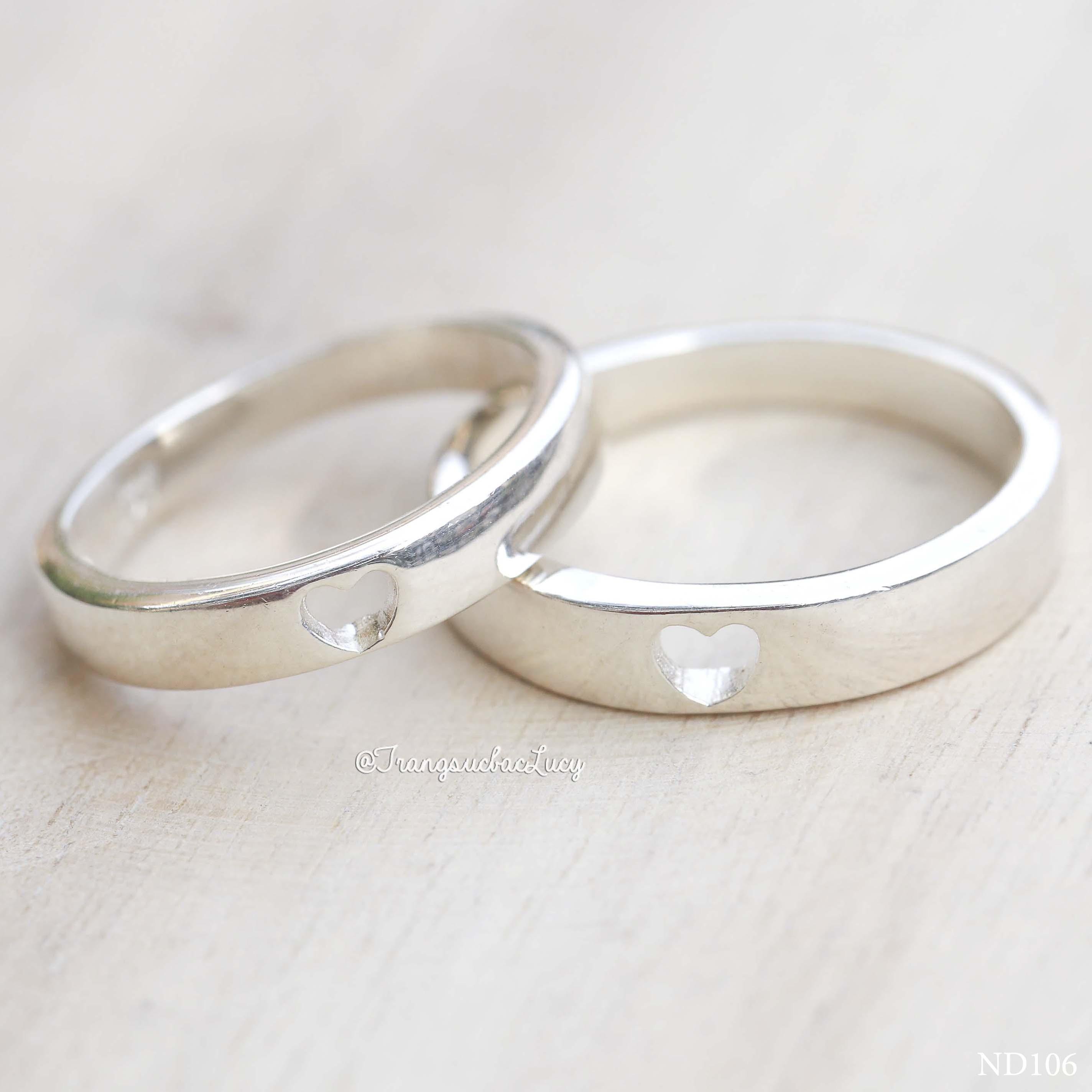 Nhẫn đôi nhẫn cặp đẹp bạc Lucy - ND106