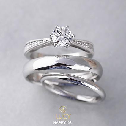 HAPPY108 Bộ nhẫn cưới thiết kế 3 chiếc, nhẫn cưới đẹp - Lucy Jewelry
