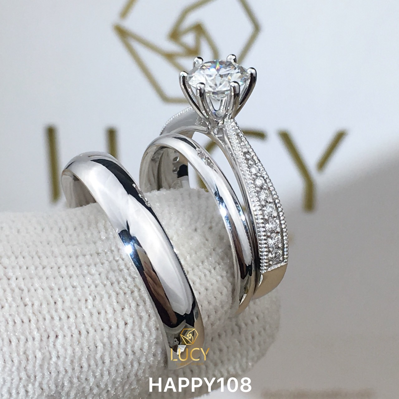 HAPPY108_PT Nhẫn cưới bạch kim cao cấp Platinum 90% PT900 - Lucy Jewelry