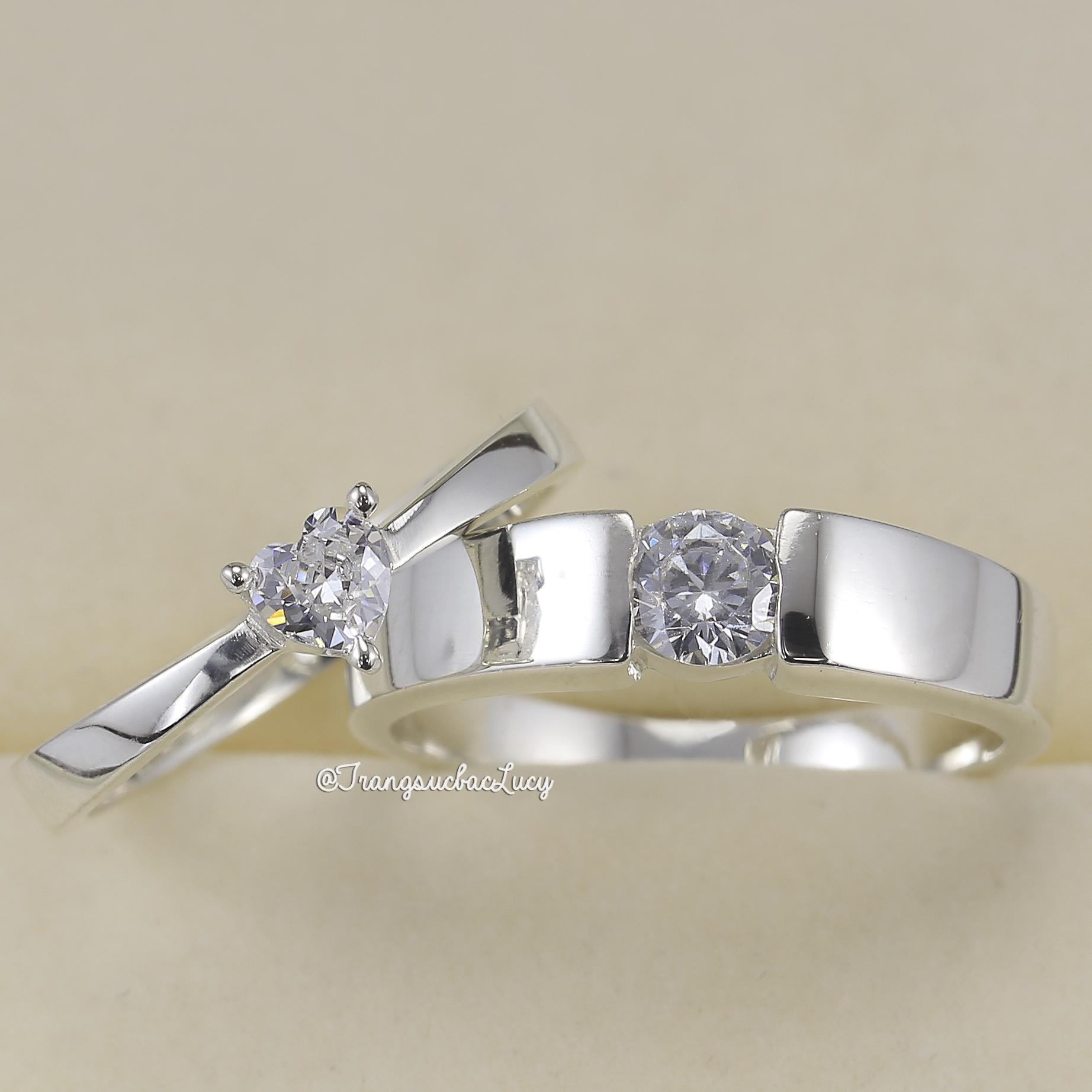 Nhẫn đôi nhẫn cặp bạc Lucy - ND052