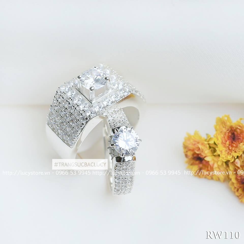 Nhẫn đôi nhẫn cặp đẹp bạc Lucy - ND110