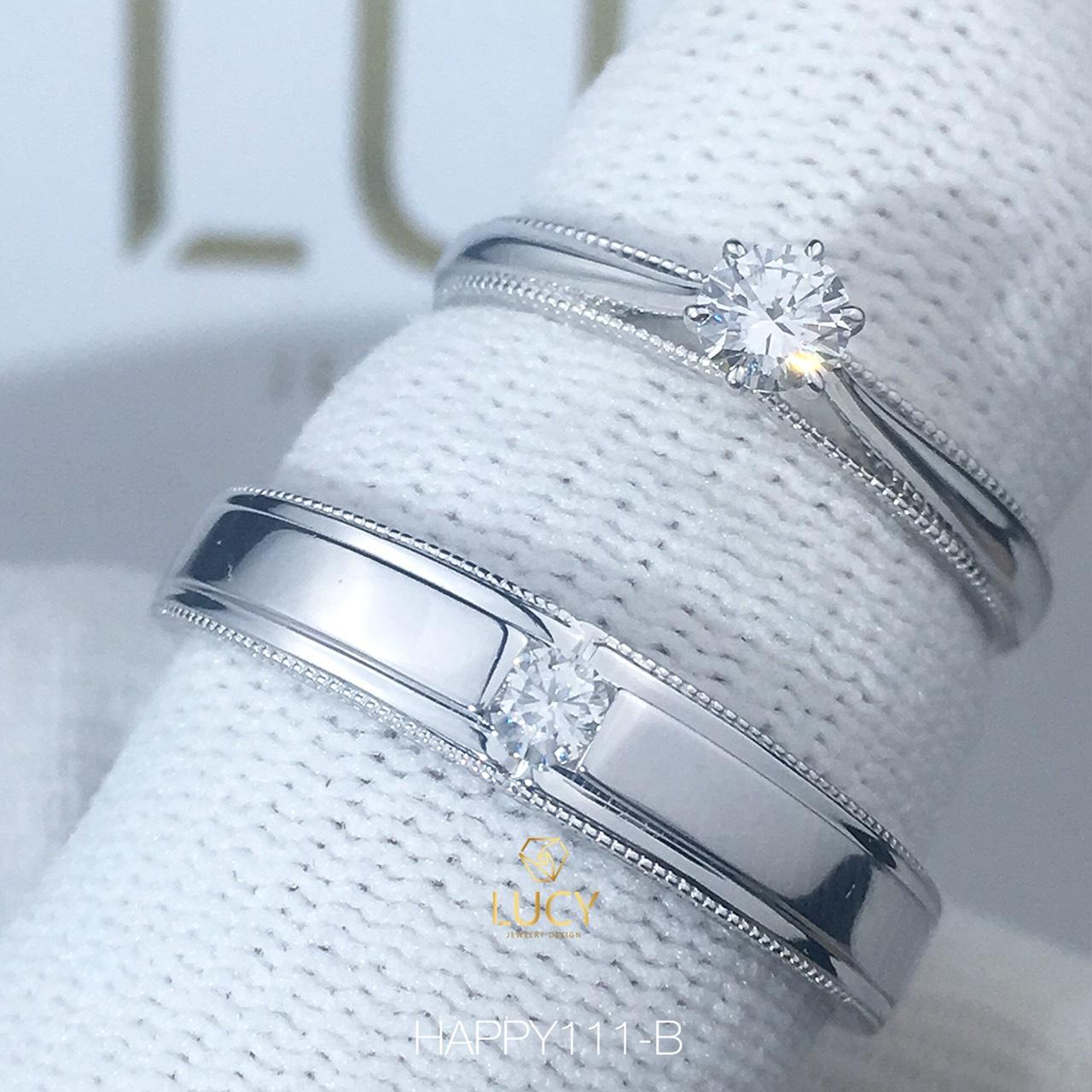 HAPPY111-B Nhẫn cưới thiết kế đá chủ nữ 4mm, nhẫn cưới đẹp, nhẫn cưới cao cấp, nhẫn cưới kim cương - Lucy Jewelry