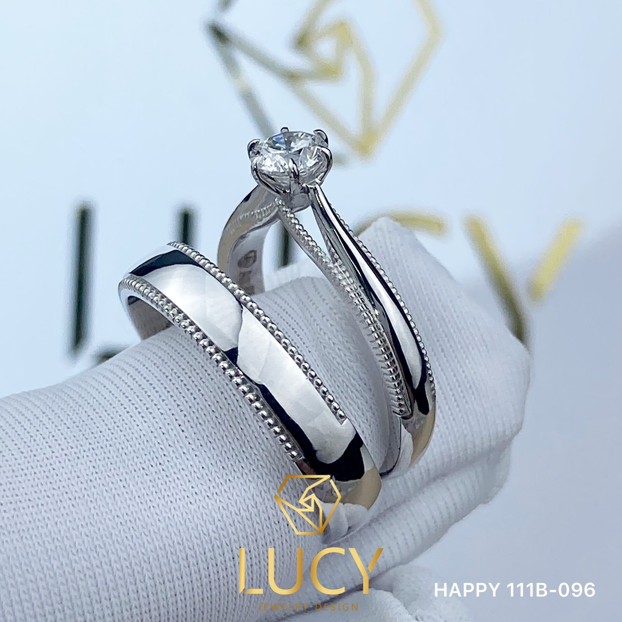 HAPPY 111B-096 Nhẫn cưới thiết kế đá chủ nữ 4mm 4.1mm, nhẫn cưới đẹp, nhẫn cưới cao cấp, nhẫn cưới kim cương - Lucy Jewelry