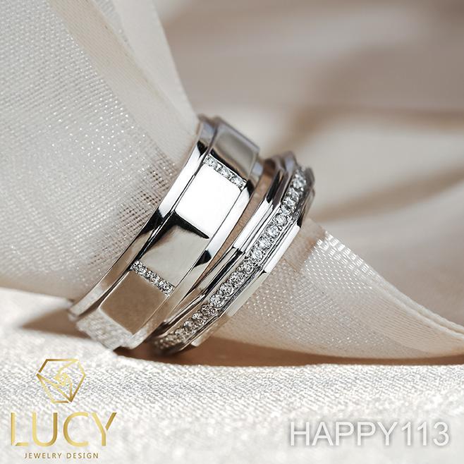 HAPPY113 Nhẫn cưới đẹp vàng tây, vàng trắng, vàng hồng 10k 14k 18k, Bạch Kim Platinum PT900 đính CZ, Moissanite, Kim cương - Lucy Jewelry
