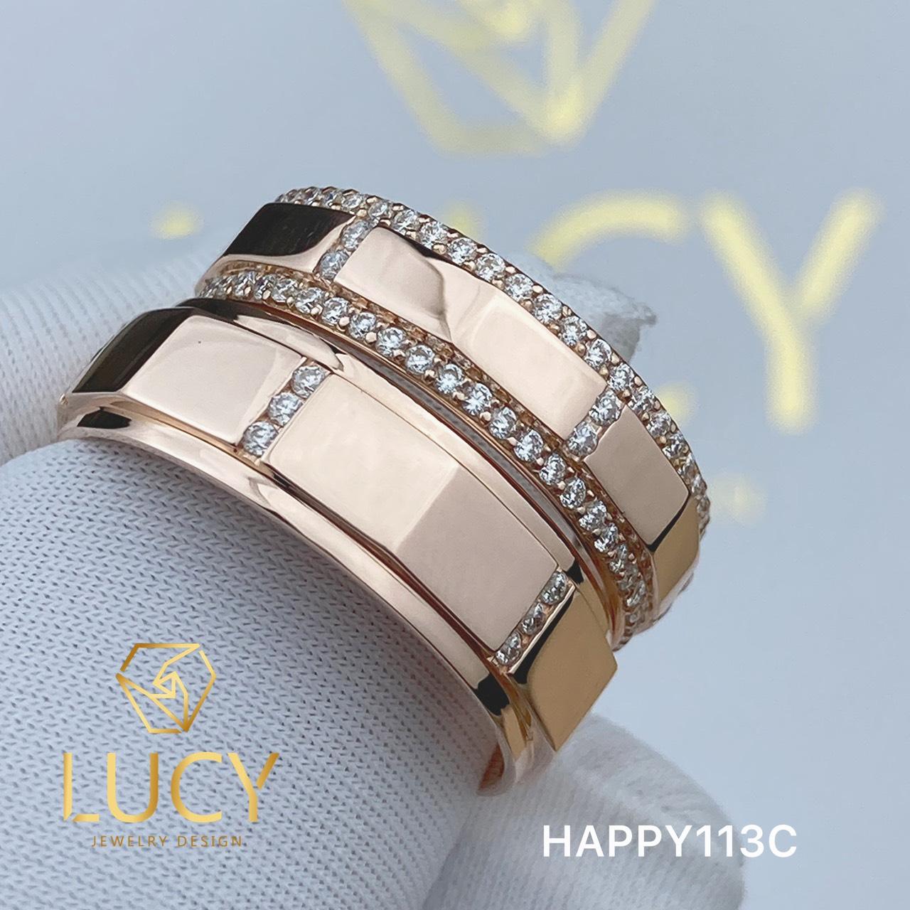 HAPPY113C Nhẫn cưới đẹp vàng tây, vàng trắng, vàng hồng 10k 14k 18k, Bạch Kim Platinum PT900 đính CZ, Moissanite, Kim cương - Lucy Jewelry