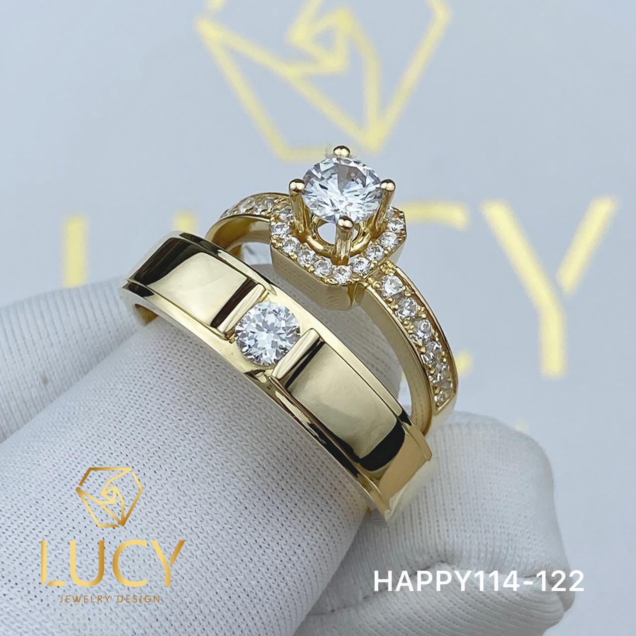 HAPPY114-122 Nhẫn cưới đẹp vàng tây, vàng trắng, vàng hồng 10k 14k 18k, Bạch Kim Platinum PT900 đính CZ, Moissanite, Kim cương - Lucy Jewelry