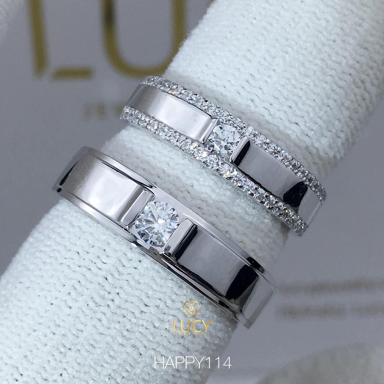 HAPPY114 Nhẫn cưới thiết kế, nhẫn cưới đẹp, nhẫn cưới cao cấp, nhẫn cưới kim cương - Lucy Jewelry