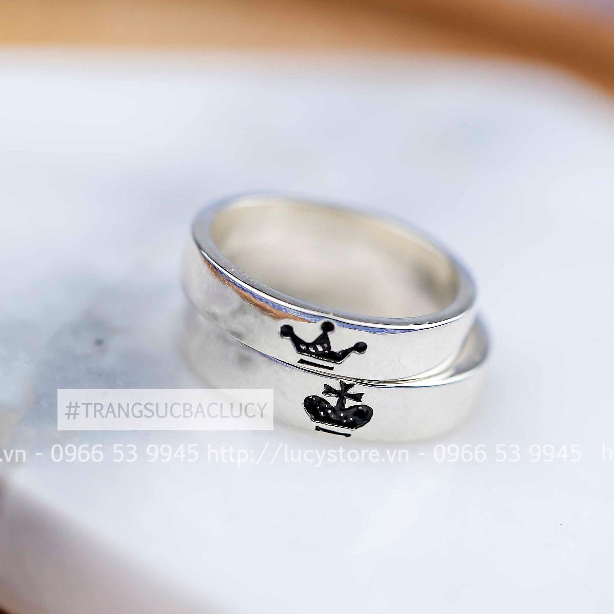 Nhẫn đôi nhẫn cặp king and queen đẹp bạc Lucy - ND114